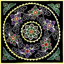 Appliqued and Embroidered Flowers on Black Cotton Cloth - (Wall Hanging)