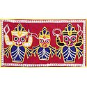 Appliqued Jagannthdev, Balaram and Subhadra on Red Velvet Cloth - (Wall Hanging)