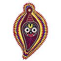 Face of Jagannathdev on Conch in Maroon Appliqued Cotton Cloth - Wall Hanging