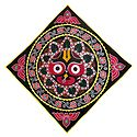 Appliqued and Embroidered Face of Jagannathdev on Black Velvet Cloth - (Wall Hanging)