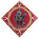 Appliqued Lord Ganesha Decorated with Embroidery and Mirrorwork on Red Velvet Cloth - (Wall Hanging)