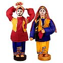 Pair of Bhangra Dancers from Punjab - Cloth Doll