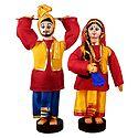 Pair of Bhangra Dancers - Cloth Dolls