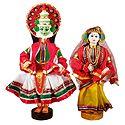 Pair of Kathakali Dancers - Cloth Dolls