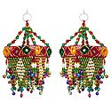 Set of 2 Decorative Wall Hanging with Mirror and Bead Work - Show Piece