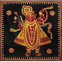 Embroidered Srinathji on Black Cotton Cloth - Wall Hanging