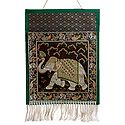 Elephant Design Brocade Silk Magazine Holder with One Pocket