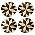 Brown and Off-White Round Wooden Coasters - Set of 4