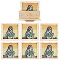 Set of 6 Gemstone Princess Painting Coasters with Revolving Holder