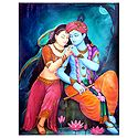 Secret Rendevous of Radha Krishna - Canvas Painting