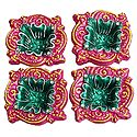 Set of 4 Hand Painted Dark Pink with Green Designer Diya