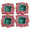 Set of 4 Hand Painted Dark Pink with Green Designer Diya