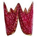 Art Silk Red Bandhej Chunni with Golden Border