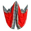 Red Dupatta with Printed White Border
