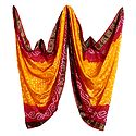 Art Silk Yellow with Red Bandhej Chunni with Zari Border