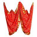 Art Silk Saffron Bandhej Chunni with Golden Border