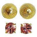 Set of 2 Pairs Gold Plated and Pink Stone Studded Earrings