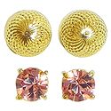 Set of 2 Pairs Gold Plated and Stone Setting Stud Earrings