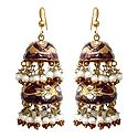 Maroon Meenakari Chandelier Lac Earrings