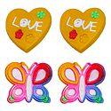 Pair of Rubber Heart and Butterfly Stud Earrings