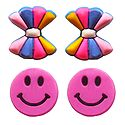 2 Pairs of Rubber Bow and Smiley Stud Earrings