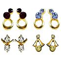 Blue, White, Maroon, Yellow Stone Studded Earrings - Set of 4 Pairs