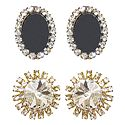 2 Pairs of Black and White Stone Studded Stud Earrings