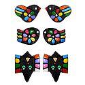 3 Pairs Hand Painted Black Terracotta Stud Earrings