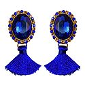 Blue Stone Studded Silk Thread Earrings