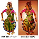 Hand Painted Sita - Perforated Leather Hanging Puppet from Andhra Pradesh