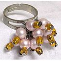 Light Pink and Golden Bead Jhumka Ring