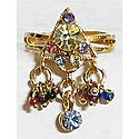 Pyramid - Multicolor Stone Studded Adjustable Ring