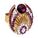 Purple and White Stone Studded Adjustable Ring