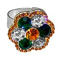 Green, White, Saffron Stone Studded Adjustable Ring