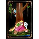 Krishna Peeping at Radha - Nirmal Painting on Wood