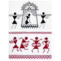 Bride in a Palanquin and Musician in Procession - Set of 2 Warli Paintings on Unframed Photographic Paper