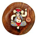 Stone Dust Musician Ganesha on Wooden Base - Magnet