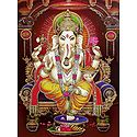 Lord Ganesha Sitting on Throne - Glitter Poster