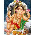 Young Ganesha Sitting in Front of Shivalinga