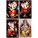 Musician Ganesha and King Ganesha - Set of 4 Posters