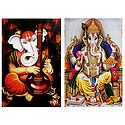 Musician Ganesha and King Ganesha - Set of 2 Posters