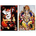 Musician Ganesha and King Ganesha - Set of 2 Posters