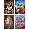 Shiva, Parvati, Ganesha, Lakshmi,Saraswati - Set of 4 Glitter Posters