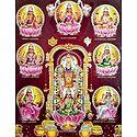 Balaji with Ashtalakshmi - (Laminated Glitter Poster)