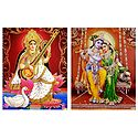 Saraswati and Radha Krishna - Set of 2 Glitter Posters