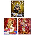 Kali, Saraswati and Nava Durga - Set of 3 Glitter Posters