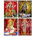 Durga, Kali, Saraswati and Nava Durga - Set of 4 Glitter Posters