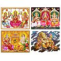 Lakshmi, Saraswati and Ganesha - Set of 4 Posters