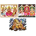 Lakshmi, Saraswati and Ganesha - Set of 3 Posters