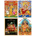 Lakshmi, Saraswati,Ganesha and Vaishno Devi - Set of 4 Posters